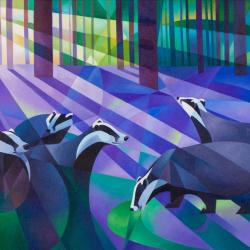 Badgers Bluebells and Moonlight by Alison Ingram