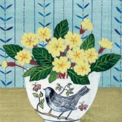 Bird Bowl and Primroses by Debbie George