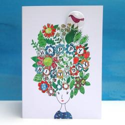 Birthday Hair Badge Card by Lindsay Marsden