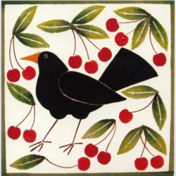 Blackbird and Cherries by Helen Brown