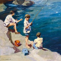 Boys Fishing by Michael Sanders