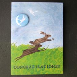 Congratulations Rabbits Badge Card by Lindsay Marsden