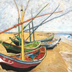 Fischerboote an Strand von Saintes-Maries 1888 by Vincent van Gogh