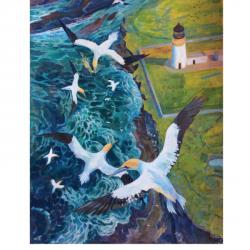 Gannets Above The Lighthouse by Anne Bignall
