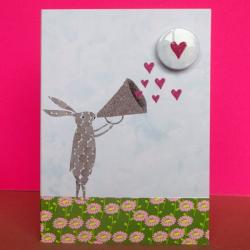 Heart Megaphone Badge Card by Lindsay Marsden