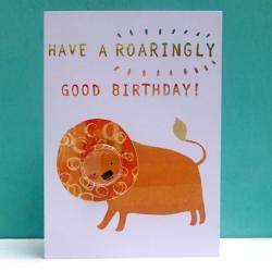 Lion Birthday Badge Card by Lindsay Marsden
