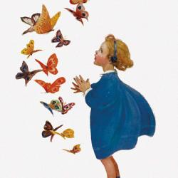 Little Girl and Butterflies by Jessie Willcox Smith