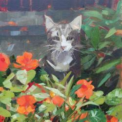 Louie in the Nasturtiums by Anne Marie Butlin