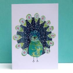 Peacock Birthday Badge Card by Lindsay Marsden