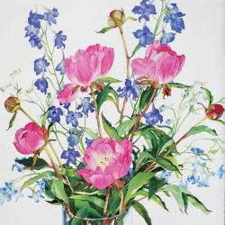 Peonies and Delphiniums by Claire Winteringham