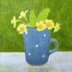 Primroses in Sophies Cup by Anna Wilson-Patterson