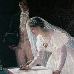 Signing The Register by Edmond Blair Leighton