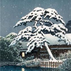 Snow at Funabori by Kawase Hasui