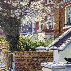 Sunlit Blossom with Cat by Melissa Scott-Miller