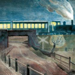 Train Going Over a Bridge at Night by Eric Ravilious