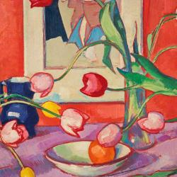 Tulips - The Blue Jug by Samuel John Peploe