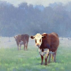 Two Cows and a Pheasant in the Morning by Ann Heat