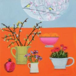 Very Orange with Blue Tits and Magnolia by Emma Dunbar
