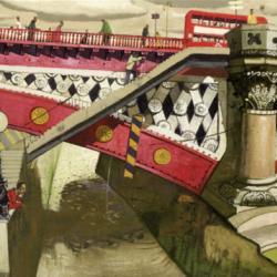 Watching the River, Blackfriars Bridge by Leon Morrocco