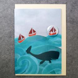 Whale Badge Card by Lindsay Marsden