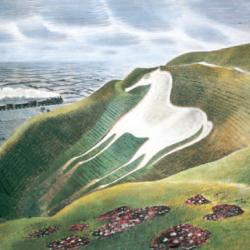 White Horse and Train by Eric Ravilious