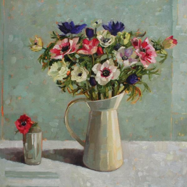 Anemones in a Cream Jug by Anne Marie Butlin