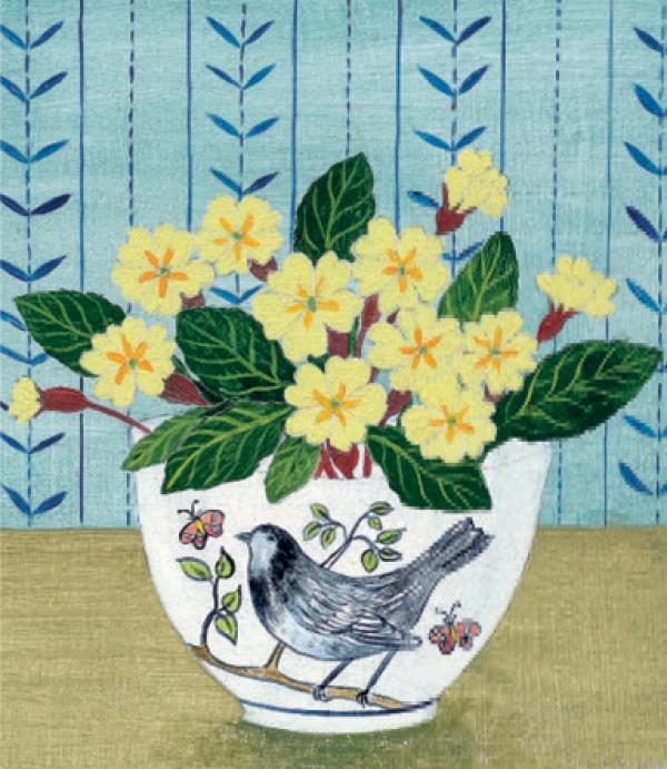 Bird Bowl and Primroses by Debbie George
