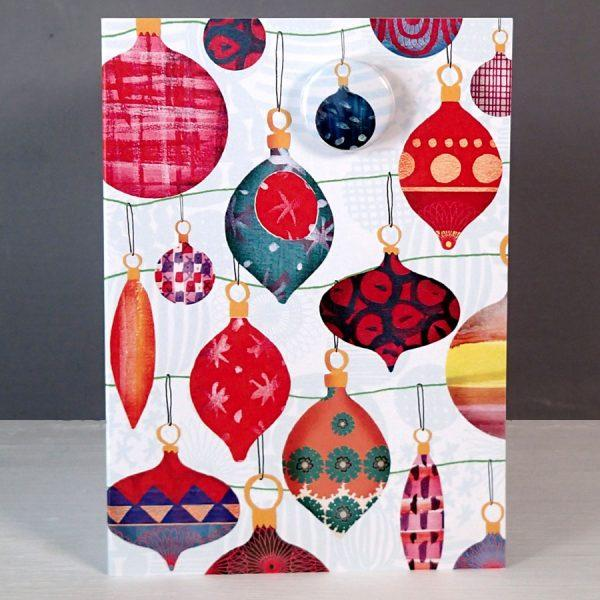 Christmas bauble badge card