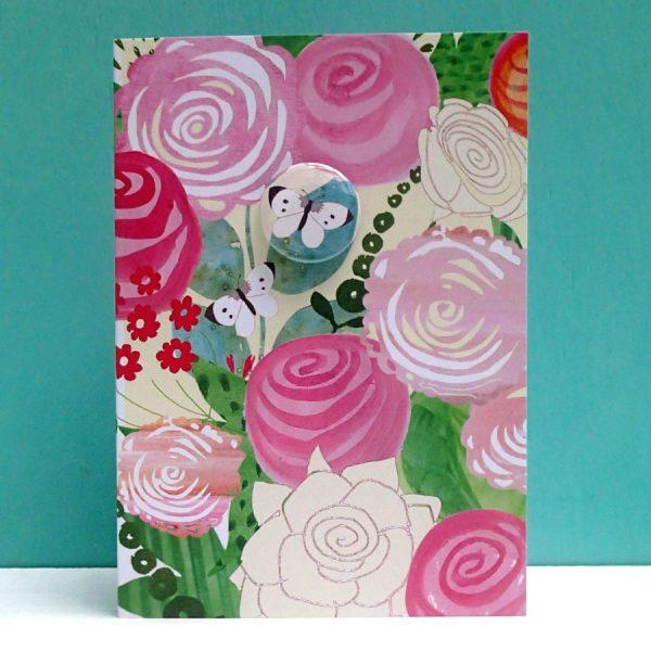 Peony & butterfly badge card by Lindsay Marsden