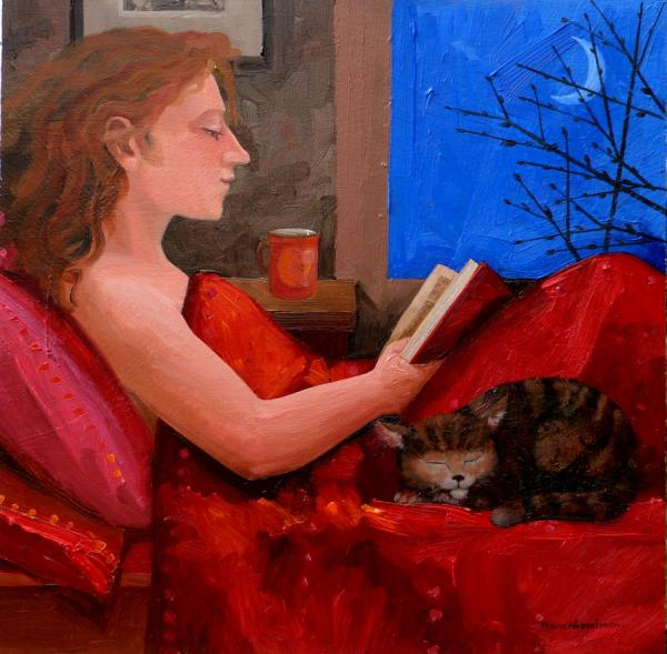 Reading with cat by Frans Wesselman
