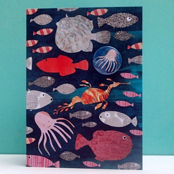 Sea Creatures Badge Card by Lindsay Marsden