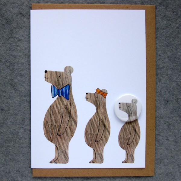Three Bears Badge Card by Lindsay Marsden