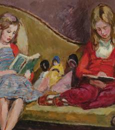 Henrietta & Amaryllis Garnett on Sickerts Sofa in Charleston Studio by Vanessa Bell